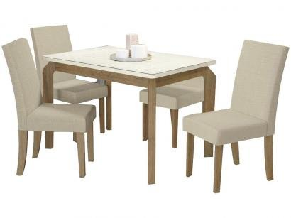 Mesa de Jantar 4 Cadeiras Retangular - Tampo de Vidro Kappesberg Montana Viero