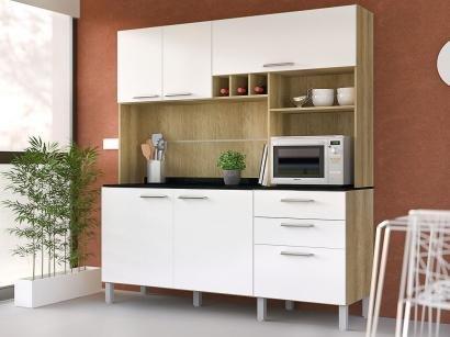 Cozinha Compacta Luciane July com Balcão - Nicho para Forno 6 Portas 2 Gavetas