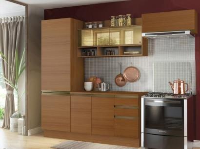 Cozinha Compacta Madesa New Glamy - com Balcão 7 Portas 2 Gavetas Com Vidro...
