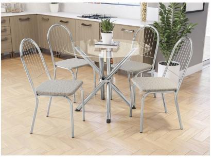 Mesa de Jantar Com 4 Cadeiras Redonda - com Tampo de Vidro Kappesberg Crome...
