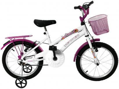 Bicicleta Infantil Aro 16 Verden Breeze - Branco e Pink com Rodinhas com Cesta Freio V-brake
