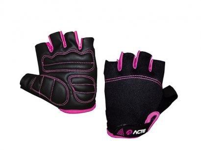 Par de Luvas Tam. M Fechamento em Velcro - Acte Sports A23-M Rosa e Preta