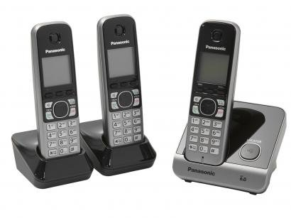 Telefone Sem Fio Panasonic KX-TG6713LBB + 2 Ramais - Identificador de Chamada...