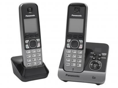 Telefone Sem Fio Panasonic KX-TG6722LBB + 1 Ramal - Identificador de Chamada...