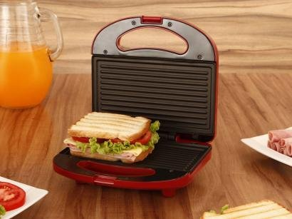 Sanduicheira/Mini Grill Cadence Easy Meal Color - 750W Antiaderente Vermelho