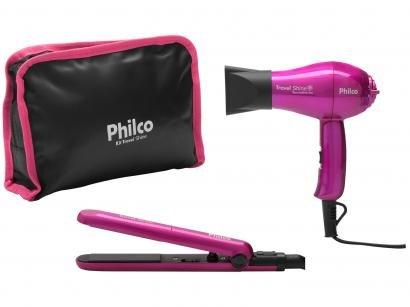 Secador de Cabelo Philco Kit Travel Shine Roxo p/ - Viagem Dobrável Turmaline...