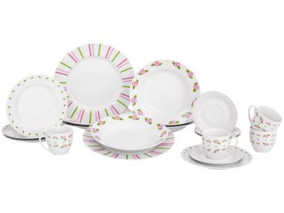 Aparelho de Jantar e Chá 20 Peças Home Gallery - Porcelana Redondo Branco Roses