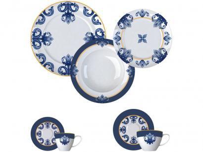 Aparelho de Jantar Chá e Café 42 Peças Germer - Porcelanas Redondo Azul e Branco Porto Versa