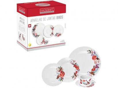 Aparelho de Jantar Chá 20 Peças Hauskraft - Porcelana Branco Birds