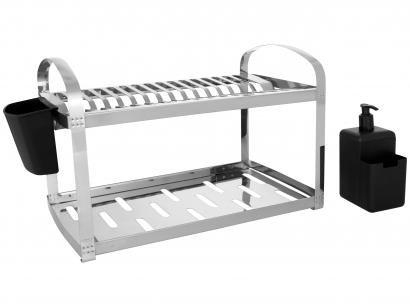Escorredor de Louça Inox Brinox Suprema 16 Pratos - com Dispenser