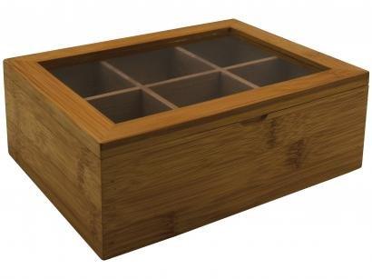 Caixa de Chá de Bambu Haus 57717/207 - com 6 Divisórias