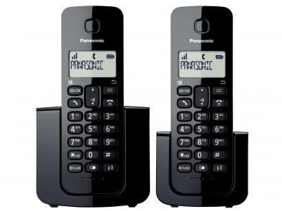 Telefone Sem Fio Panasonic TGB112 + 1 Ramal - Identificador de Chamada Black...
