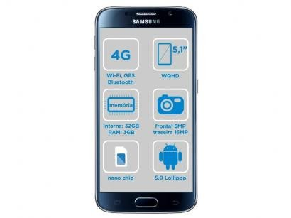 "Smartphone Samsung Galaxy S6 32GB Preto 4G - Câm. 16MP + Selfie 5MP Tela 5.1""..."