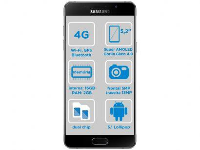 "Smartphone Samsung Galaxy A5 2016 Duos 16GB Preto - 2GB RAM Tela 5.2"" 4G Câm...."