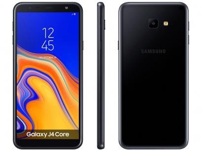 "Smartphone Samsung Galaxy J4 Core 16GB Preto 4G - Quad Core 1GB RAM Tela 6""..."
