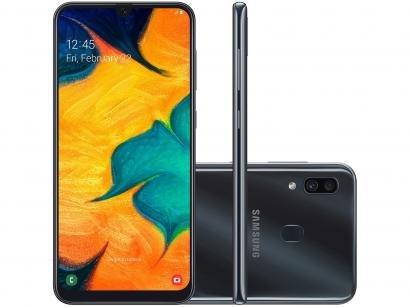 "Smartphone Samsung Galaxy A30 64GB Preto 4G - 4GB RAM 6,4"" Câm. Dupla + Câm...."