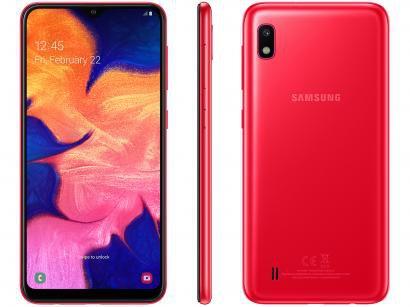 "Smartphone Samsung Galaxy A10 32GB Vermelho 4G - 2GB RAM 6,2"" Câm. 13MP + Câm...."