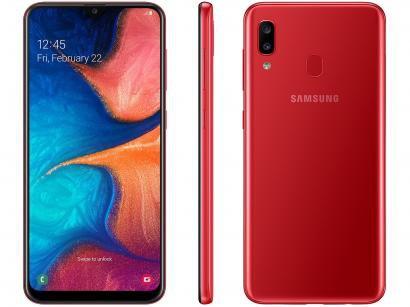 """Smartphone Samsung Galaxy A20 32GB Vermelho 4G - 3GB RAM 6,4"""" Câm. Dupla + Câm...."""