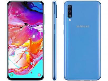 """Smartphone Samsung Galaxy A70 128GB Azul 4G - 6GB RAM Tela 6,7"""" Câm. Tripla +..."""