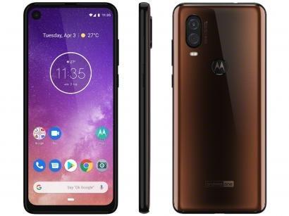 "Smartphone Motorola One Vision 128GB Bronze - 4G 4GB RAM 6,34"" Câm. Dupla +..."
