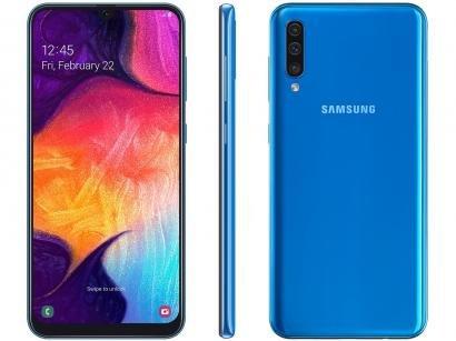 """Smartphone Samsung Galaxy A50 128GB Azul 4G - 4GB RAM Tela 6,4"""" Câm. Tripla +..."""