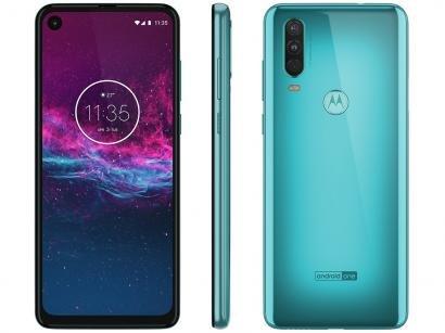 "Smartphone Motorola One Action 128GB Aqua Marine - 4G 4GB RAM 6,34"" Câm. Tripla..."