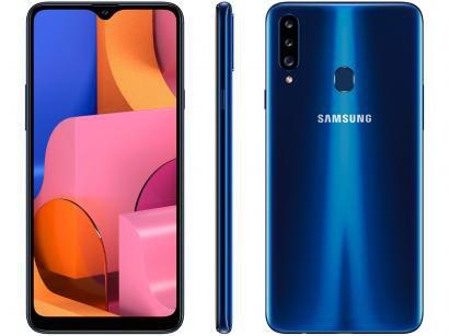 Smartphone Samsung Galaxy A20s 32GB Azul 4G - Octa-Core 3GB RAM Câm. Tripla +...
