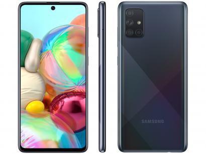 """Smartphone Samsung Galaxy A71 128GB Preto 6GB RAM - Tela 6,7"""" Câm. Quádrupla Câm. + Selfie 32MP"""