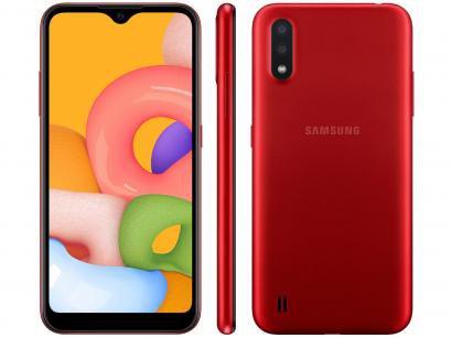 """Smartphone Samsung Galaxy A01 32GB Vermelho - 2GB RAM Tela 5,7"""" Câm. Dupla + Câm. Selfie 5MP"""