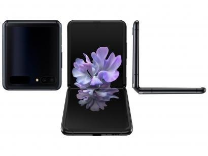 "Smartphone Samsung Galaxy Z Flip 256GB Preto 4G - Octa-Core 8GB RAM 6,7"" Câm. Dupla + Selfie 10MP"