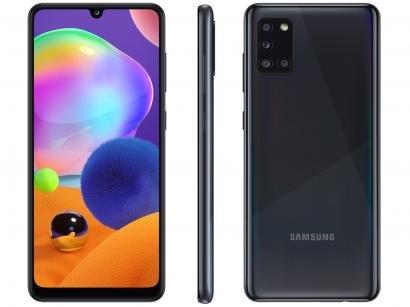 "Smartphone Samsung Galaxy A31 128GB Preto 4G - Octa-Core 4GB RAM Tela 6,4"" Câm.Quádrupla + Selfie"