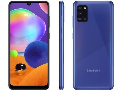 "Smartphone Samsung Galaxy A31 128GB Azul 4G - Octa-Core 4GB RAM Tela 6,4"" Câm.Quádrupla + Selfie"