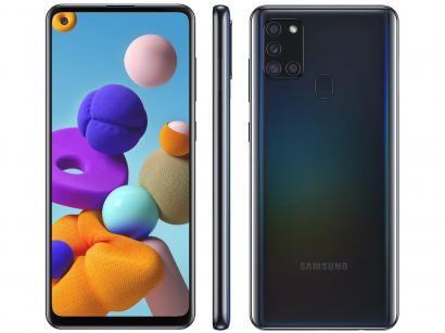 "Smartphone Samsung Galaxy A21s 64GB Preto 4G - 4GB RAM 6,5"" Câm. Quádrupla + Selfie 13MP"