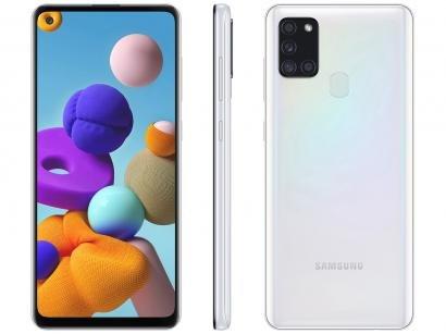 "Smartphone Samsung Galaxy A21s 64GB Branco 4G - 4GB RAM 6,5"" Câm. Quádrupla + Selfie 13MP"