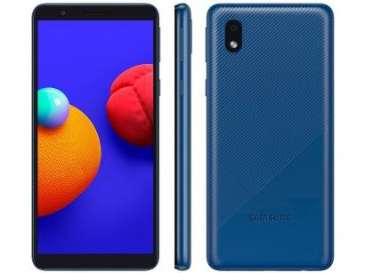Smartphone Samsung Galaxy A01 Core 32GB Azul - Processador Quad-Core 2GB RAM Câm.8MP + Selfie 5MP