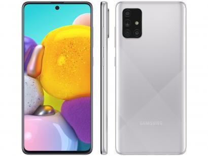 "Smartphone Samsung Galaxy A71 128GB Cinza 4G - 6GB RAM 6,7"" Câm. Quádrupla + Selfie 32MP"