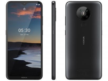 """Smartphone Nokia 5.3 128GB Preto 4G Octa-Core - 4GB RAM 6,55"""" Câm. Quádrupla + Selfie 8MP"""
