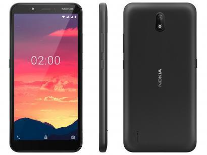 "Smartphone Nokia C2 16GB Preto 4G 1GB RAM 5,7"" - Câm. 5MP + Selfie 5MP Dual Chip"