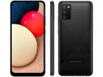 "Smartphone Samsung Galaxy A02s 32GB Preto 4G - Octa-Core 3GB RAM 6,5"" Câm. Tripla + Selfie 5MP"