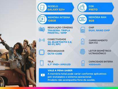 "Smartphone Samsung Galaxy S21+ 128GB Preto 5G - 8GB RAM Tela 6,7"" Câm. Tripla + Selfie 10MP"