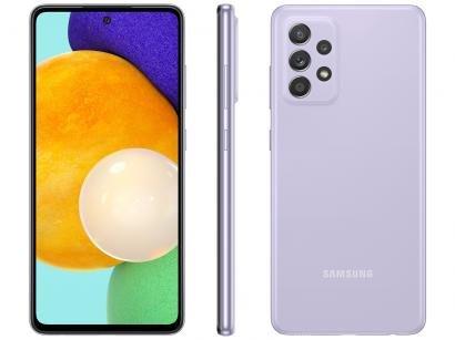 "Smartphone Samsung Galaxy A52 128GB Violeta 4G - 6GB RAM Tela 6,5"" Câm. Quádrupla + Selfie 32MP"