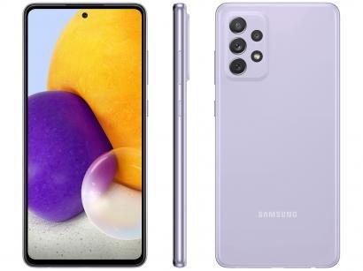 "Smartphone Samsung Galaxy A72 128GB Violeta 4G - 6GB RAM Tela 6,7"" Câm. Quádrupla + Selfie 32MP"