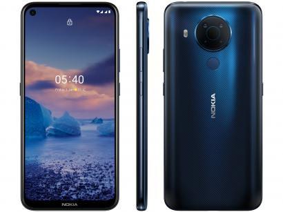 """Smartphone Nokia 5.4 128GB Azul 4G Octa-Core - 4GB RAM Tela 6,39"""" Câm. Quádrupla + Selfie 16MP"""