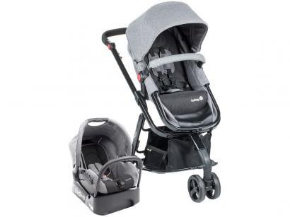 Carrinho de Bebê com Bebê Conforto e Moisés Safety - 1st Travel System Mobi Grey Denim Black 3 Rodas