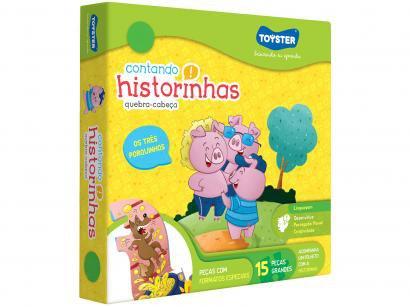 Quebra-cabeça 15 Peças Linguagem Contando - Historinhas Os Três Porquinhos Toyster 2483