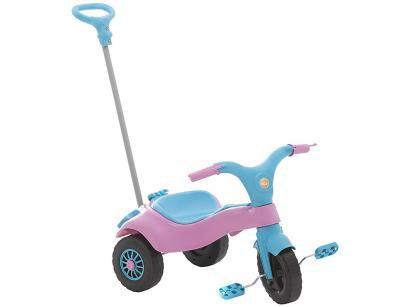 Triciclo Infantil com Empurrador Homeplay - Motoca Praia e Campo com Banco Removível
