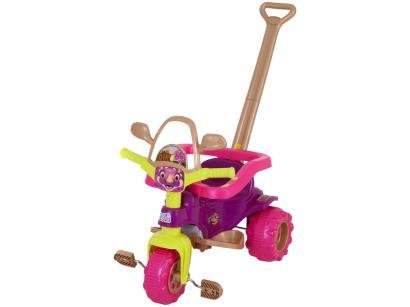 Triciclo Infantil Dino Pink com Empurrador - Cestinha Emite Sons Magic Toys