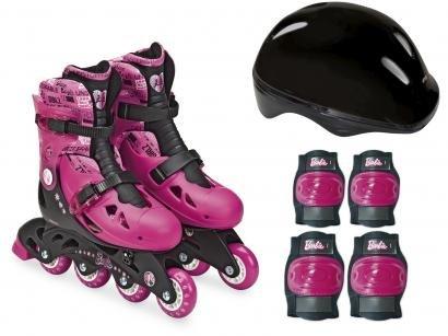 Patins In Line Infantil Fun Barbie Rosa e Preto - com Acessórios