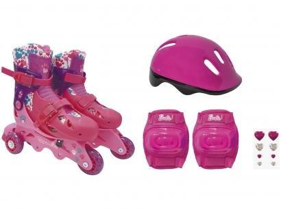 Patins In Line Infantil Barbie Fun - Rosa com Acessórios