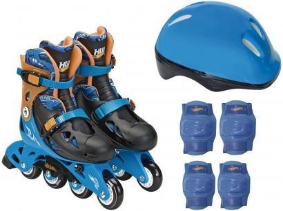 Patins In Line Infantil Fun Hot Wheels - Azul e Preto com Acessórios